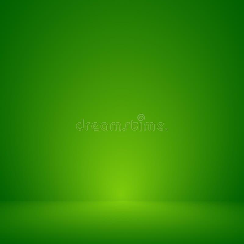 Vektor: Leerer grüner Studioraumhintergrund, Schablonenspott oben für Anzeige des Produktes, Geschäftshintergrund stock abbildung