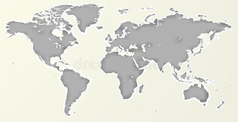 Vektor-leeres graues Papier herausgeschnittene ähnliche Weltkarte lokalisiert lizenzfreie abbildung