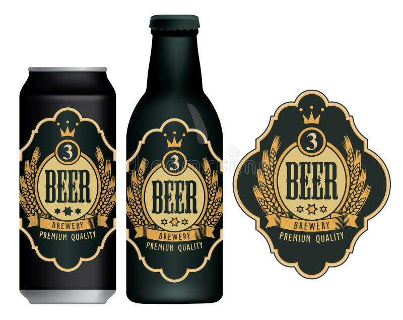 Vektor?letikett p? ?lburken och flaskan royaltyfri illustrationer