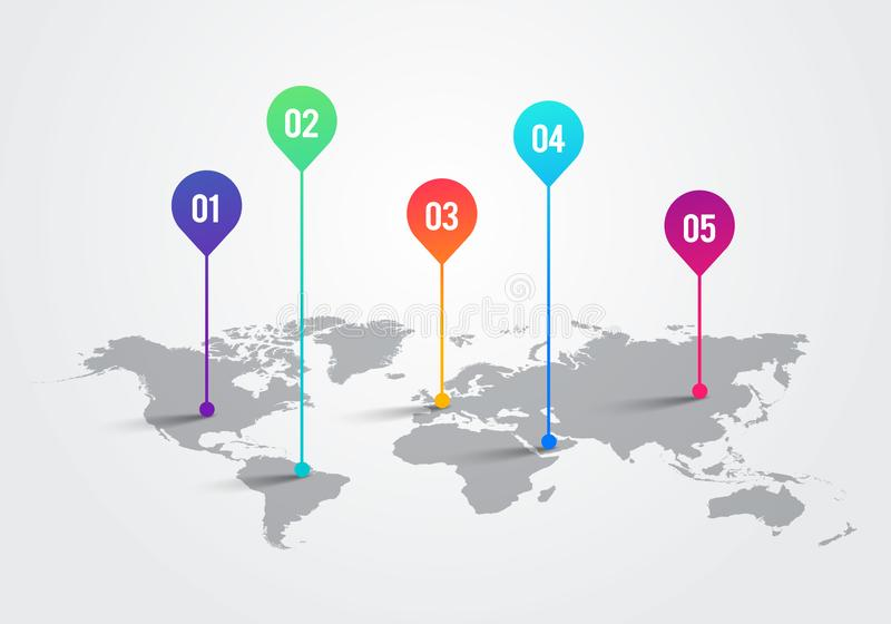 Vektor-Licht-Weltkarte mit Infographic-Zeiger-Kennzeichen, Kommunikations-Konzept-Diagramm stock abbildung