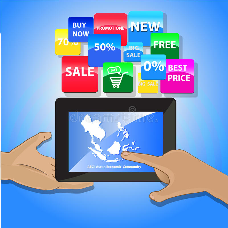 Vektor - on-line-Einkaufskonzept - Tabletten- und techologyikonen vektor abbildung