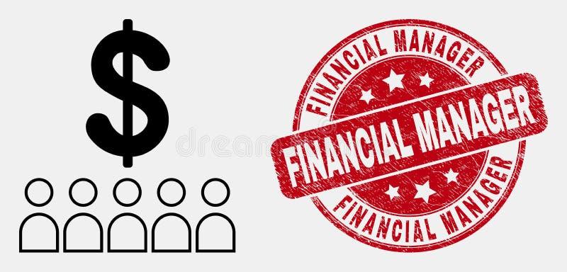 Vektor-lineare Bank-Kunden-Ikone und verkratzter Finanzmanager Stamp stock abbildung