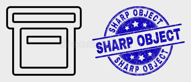 Vektor-lineare Kasten-Ikone und Schmutz-scharfes Gegenstand-Stempelsiegel lizenzfreie abbildung