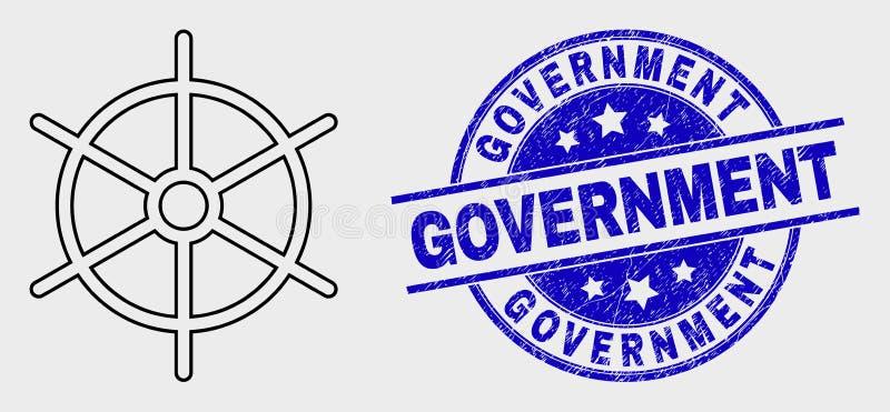 Vektor-lineare Schiffs-Regel-Rad-Ikone und Bedrängnis-Regierungs-Dichtung lizenzfreie abbildung