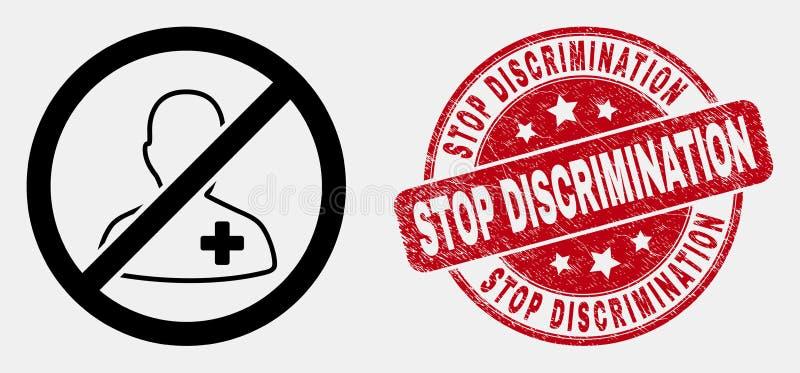 Vektor-lineare verbotene geduldige Ikone und Bedrängnis stoppen Unterscheidungs-Dichtung lizenzfreie abbildung