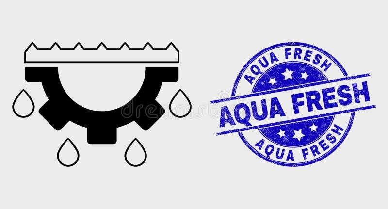 Vektor-lineare Wasser-Gang-Tropfen-Ikone und verkratzte Aqua Fresh Watermark lizenzfreie abbildung
