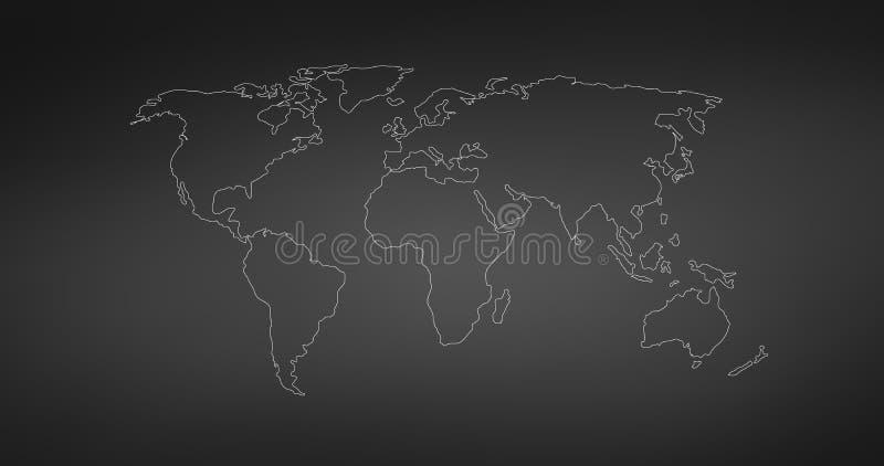 Vektor-lineare Weltkarte, editable Anschlag Vektorabbildung getrennt auf wei?em Hintergrund vektor abbildung