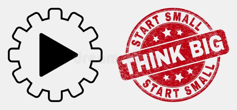 Vektor-Linie Anfangsgang-Automatisierungs-Ikone und Bedrängnis beginnen kleines denken große Dichtung stock abbildung