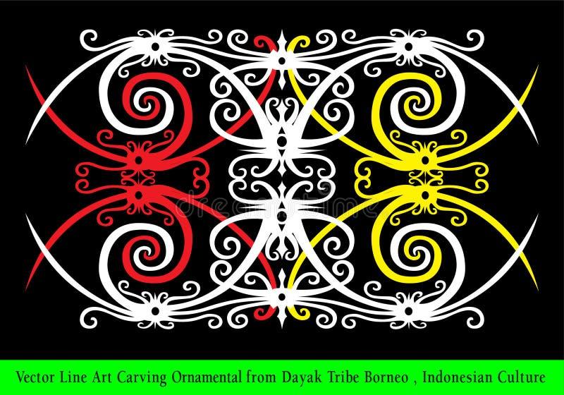 Vektor-Linie Art Carving Ornamental vom Dayak-Stamm Borneo, indonesische Kultur lizenzfreie abbildung