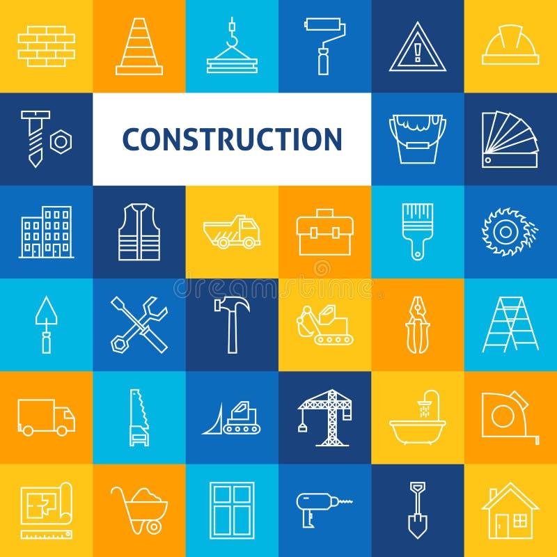 Vektor-Linie Art Construction Icons Set lizenzfreie abbildung