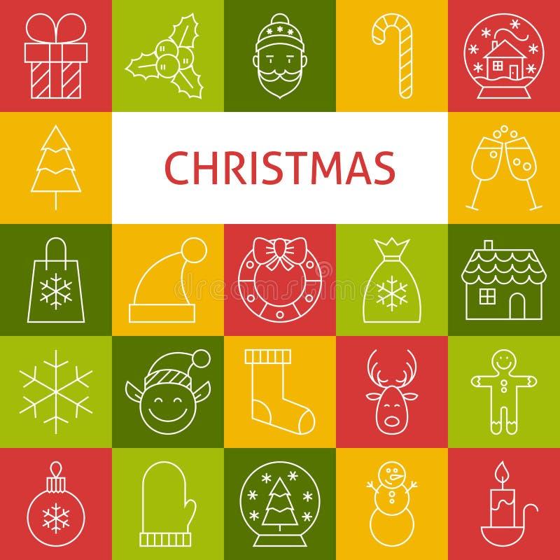 Vektor-Linie Art Modern Merry Christmas Holiday-Ikonen eingestellt stock abbildung