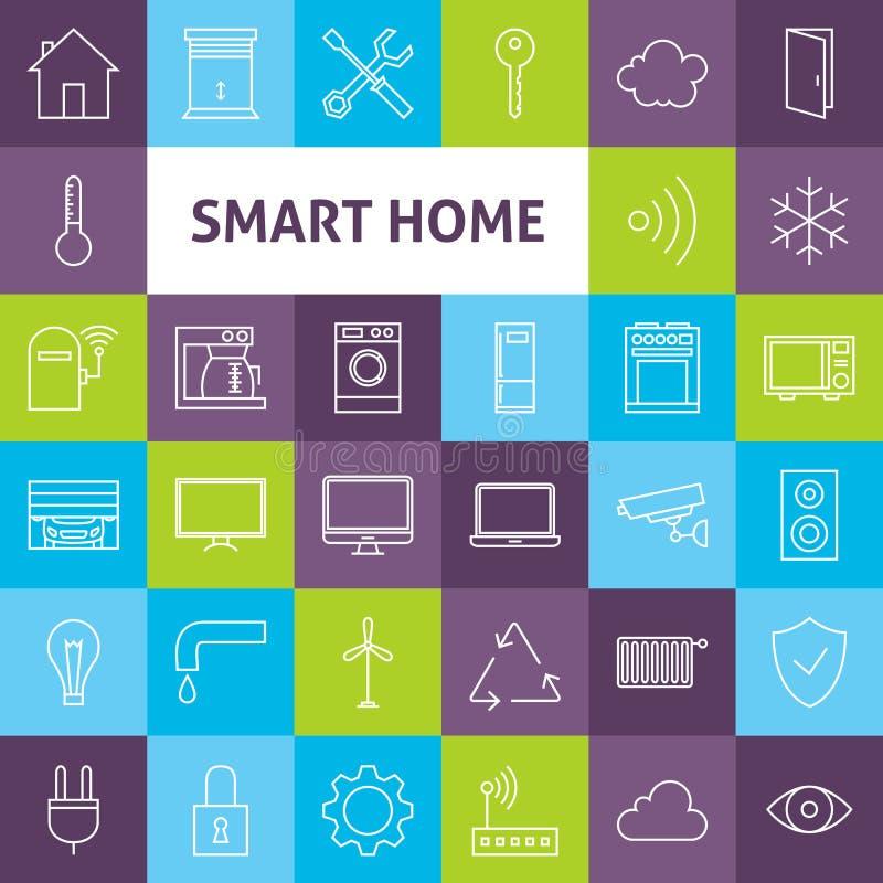 Vektor-Linie Art Smart Home Icons Set stock abbildung