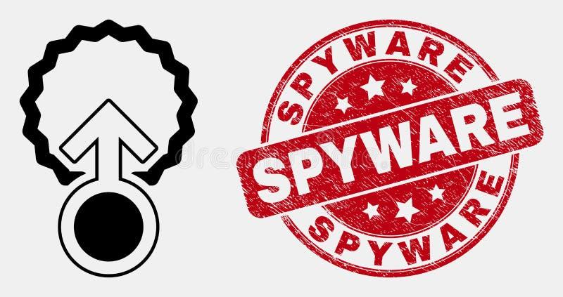 Vektor-Linie Befruchtungs-Ikone und verkratzter Spyware-Stempel stock abbildung