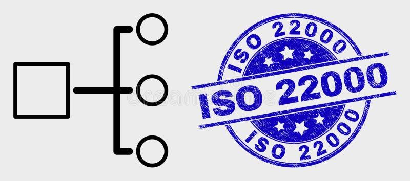 Vektor-Linie Hierarchie-Ikone und verkratzter Stempel ISO 22000 vektor abbildung