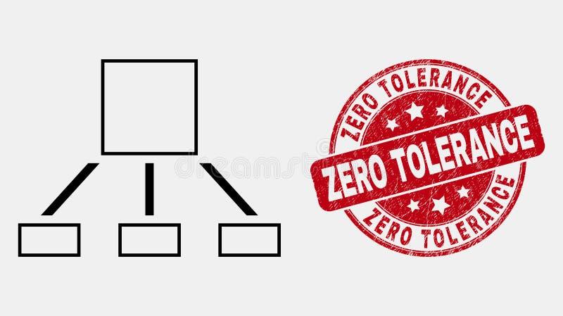 Vektor-Linie Hierarchie-Ikone und verkratztes Nulltoleranz-Stempelsiegel vektor abbildung