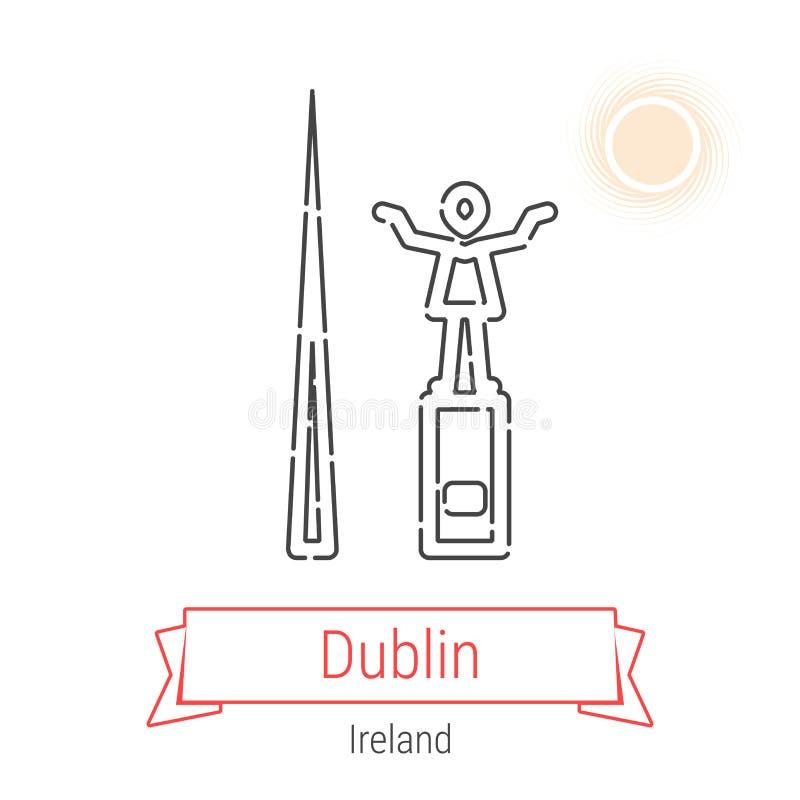 Vektor-Linie Ikone Dublins, Irland vektor abbildung