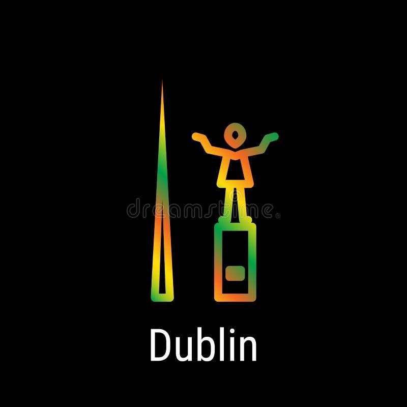 Vektor-Linie Ikone Dublins, Irland lizenzfreie abbildung