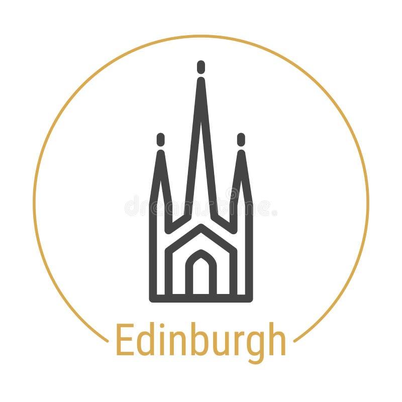 Vektor-Linie Ikone Edinburghs, Schottland vektor abbildung