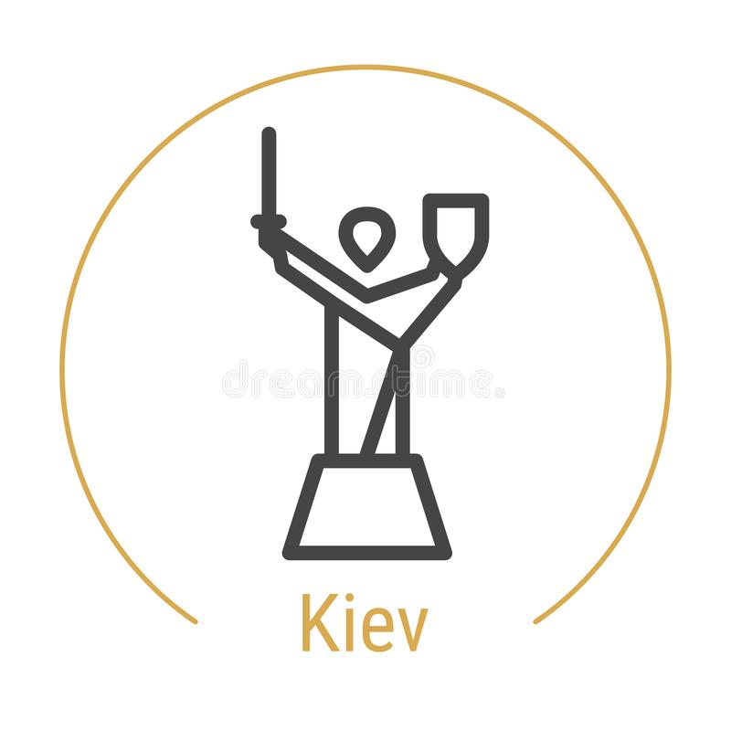 Vektor-Linie Ikone Kiews, Ukraine vektor abbildung