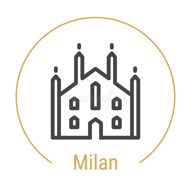 Vektor-Linie Ikone Mailands, Italien lizenzfreie abbildung