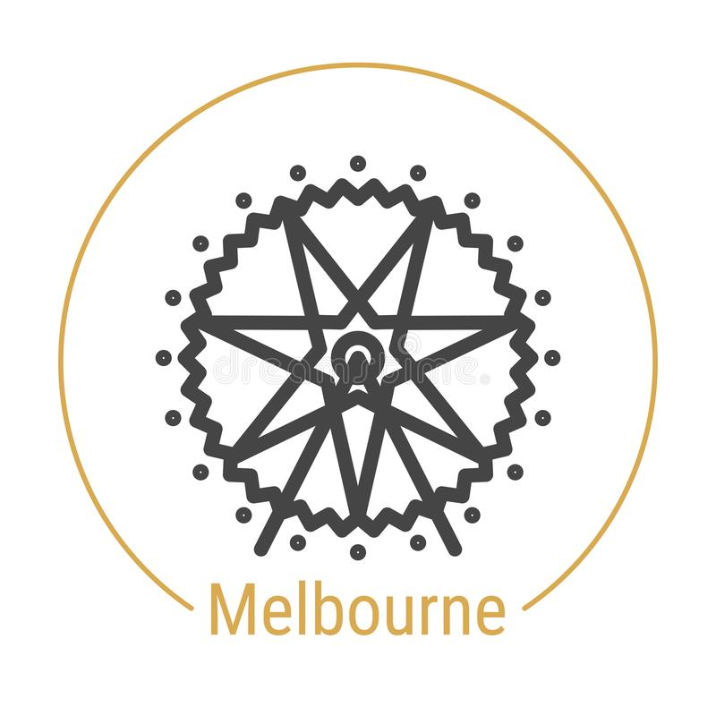 Vektor-Linie Ikone Melbournes, Australien lizenzfreie abbildung