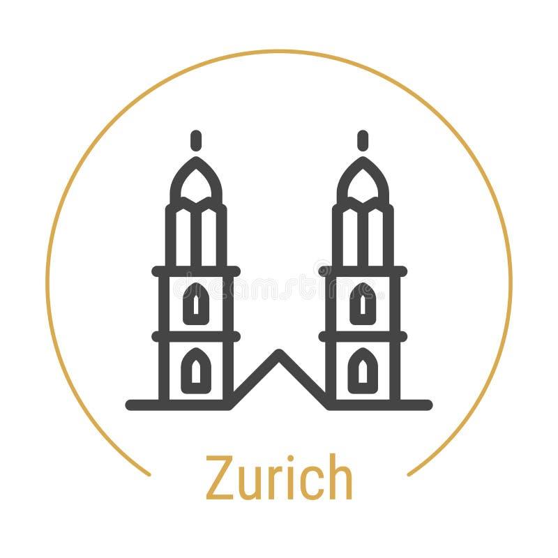 Vektor-Linie Ikone Zürichs, die Schweiz lizenzfreie abbildung
