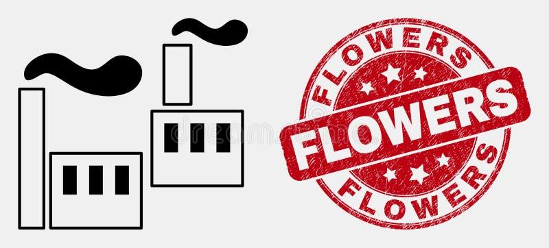 Vektor-Linie industrielle Fabrik-Ikone und Bedrängnis-Blumen-Stempelsiegel stock abbildung