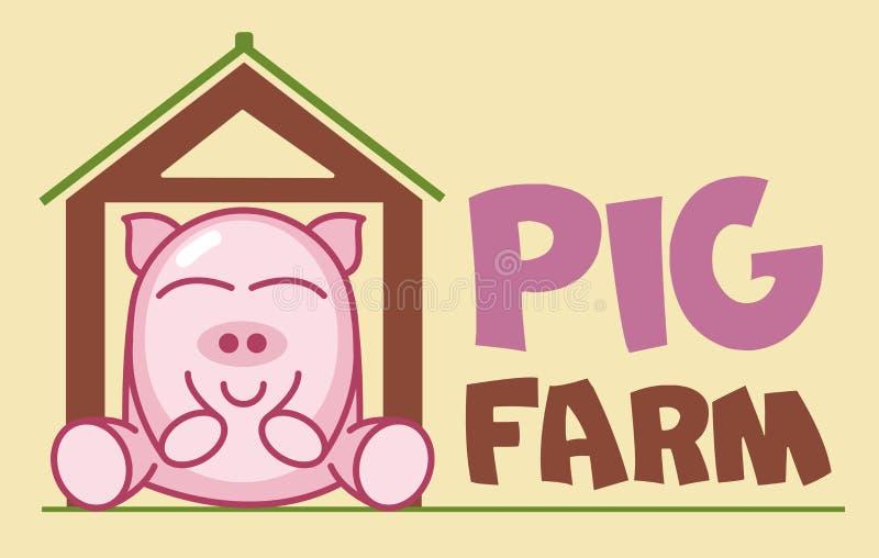 Vektor-Logo ?ute des lustigen lächelnden Karikaturschweins, das in einer Scheune sitzt Moderne humorvolle Logoschablone mit Bild  stock abbildung