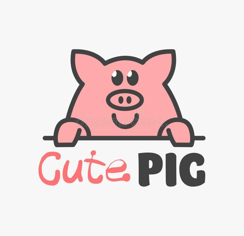 Vektor-Logo ?ute des lustigen lächelnden Karikaturschweins Moderne humorvolle Logoschablone mit Bild des Schweinefleisch Schl?cht stock abbildung