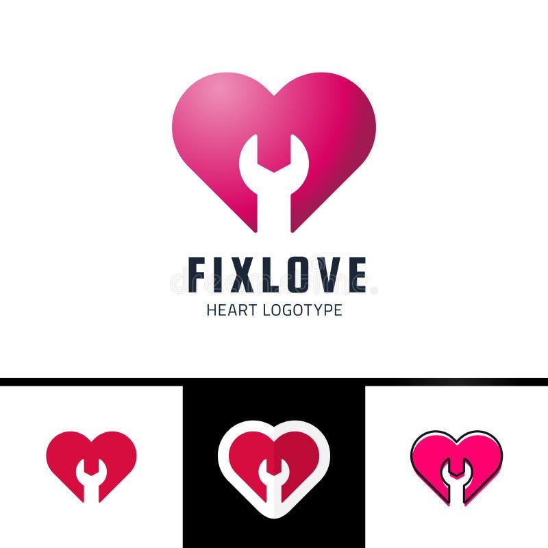 Vektor Logo Design Element för reparations- eller knipaförälskelsehjärta royaltyfri illustrationer