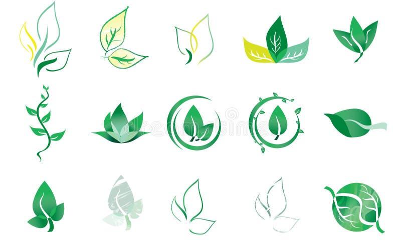 Vektor Logo Elements Leaf vektor illustrationer