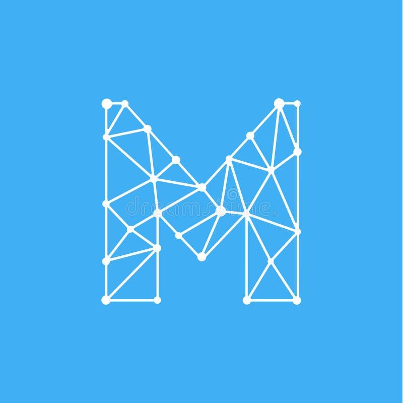 Vektor Logo Letter M Dots Lines lizenzfreie abbildung