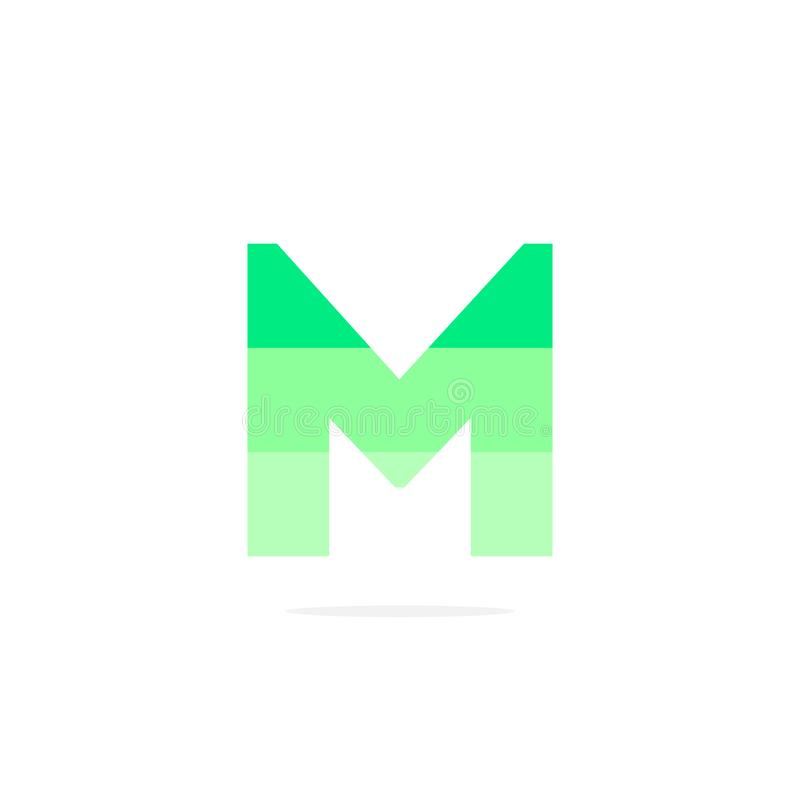 Vektor Logo Letter M Green Energy Battery stock illustrationer
