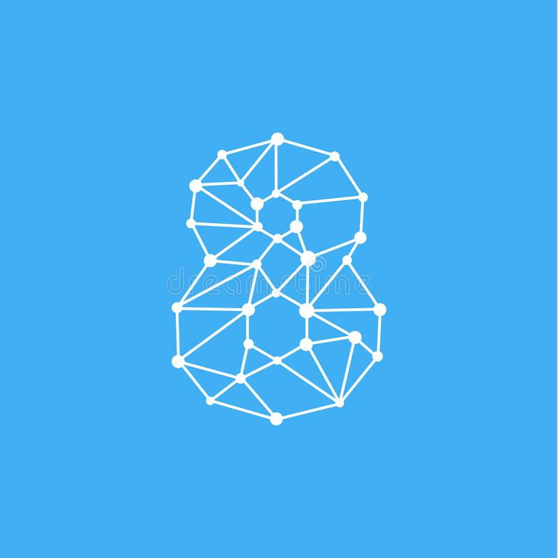 Vektor Logo Number 8 Dots Lines stock abbildung