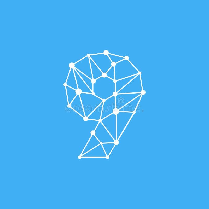 Vektor Logo Number 9 Dots Lines lizenzfreie abbildung