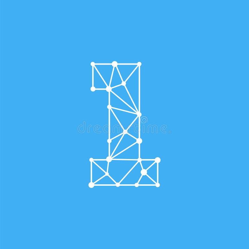 Vektor Logo Number 1 Dots Lines lizenzfreie abbildung