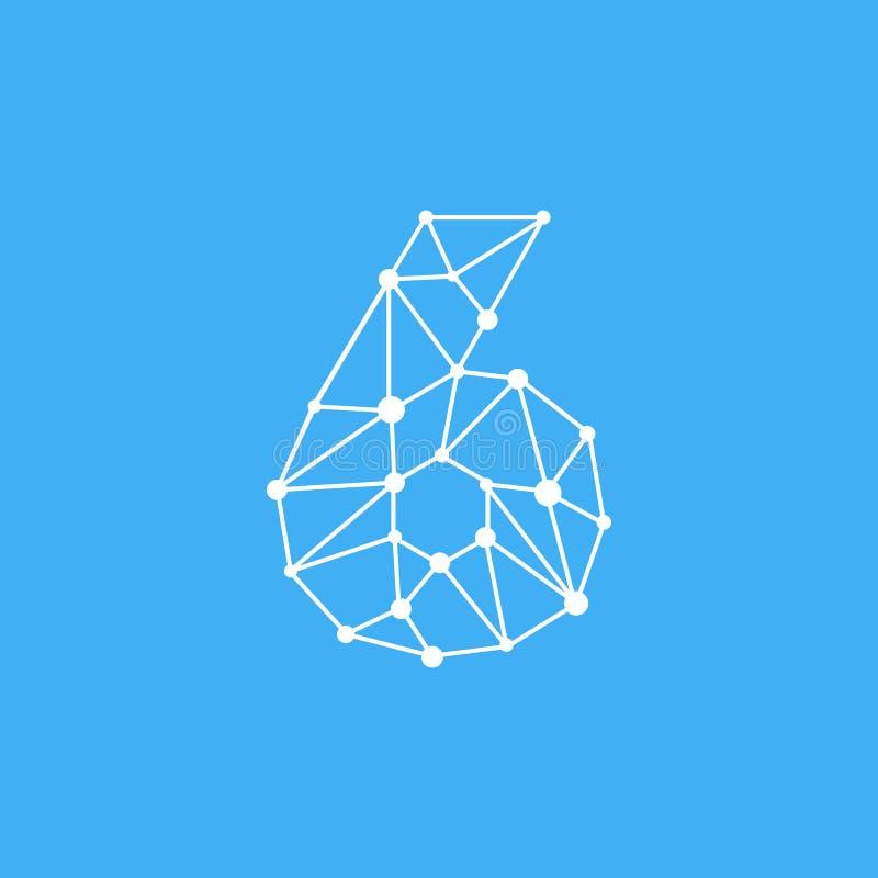 Vektor Logo Number 6 Dots Lines lizenzfreie abbildung