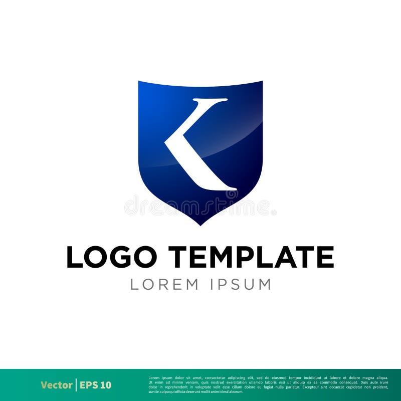 Vektor Logo Template Illustration Design för symbol för K-bokstavssköld Vektor EPS 10 vektor illustrationer