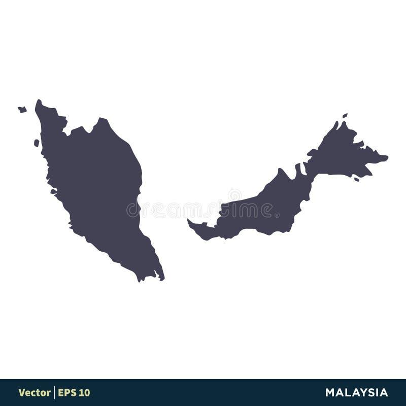 Vektor Logo Template Illustration Design för symbol för Malaysia - Asien landsöversikt Vektor EPS 10 vektor illustrationer