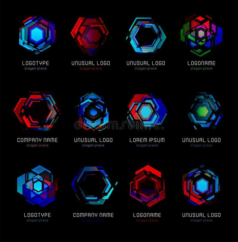 Vektor-Logoschablone der futuristischen Reaktorzusammenfassung bunte Design-Effektlogos der innovativen Technologien stellten dig stock abbildung