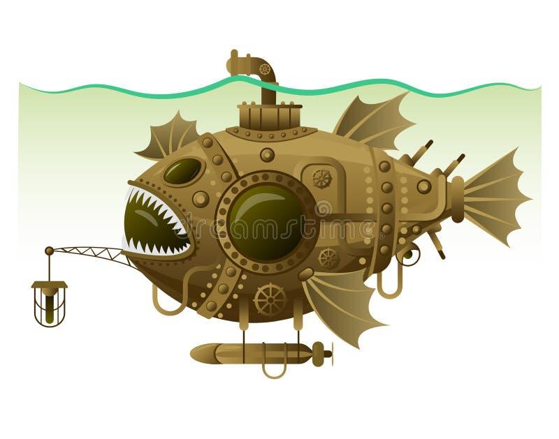 Vektor lokalisierte Bild des komplexen fantastischen Unterseeboots in Form von Fischen mit Maschinerie, Ausrüstung und Bewaffnung stock abbildung