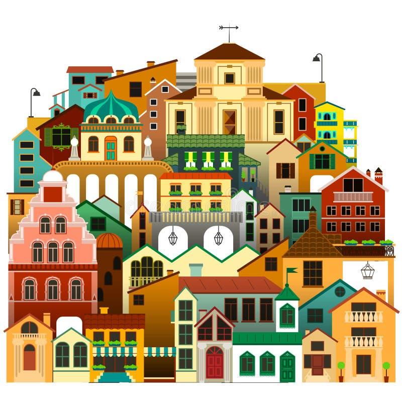 Vektor lokalisierte bunte Stadtwohnungen Städtische Architektur lizenzfreie abbildung