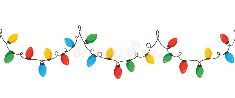 Vektor-lokalisierte buntes Retro- Feiertags-Weihnachten, das neues Jahr Ketten-Lichter sich verflocht, horizontalen Seamles-Grenz lizenzfreie abbildung