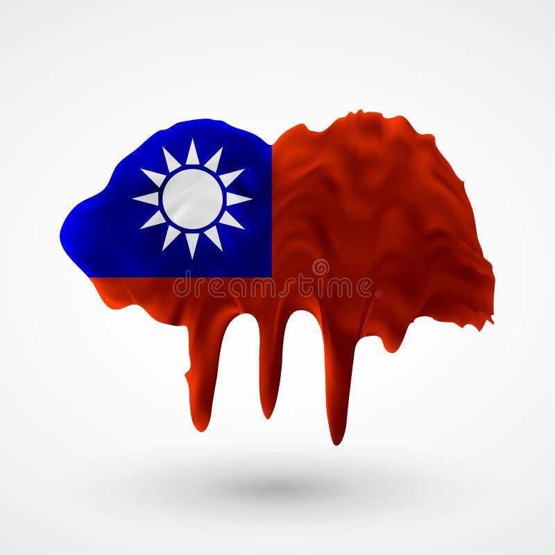 Vektor lokalisierte Flagge von Taiwan malte Farben lizenzfreie abbildung