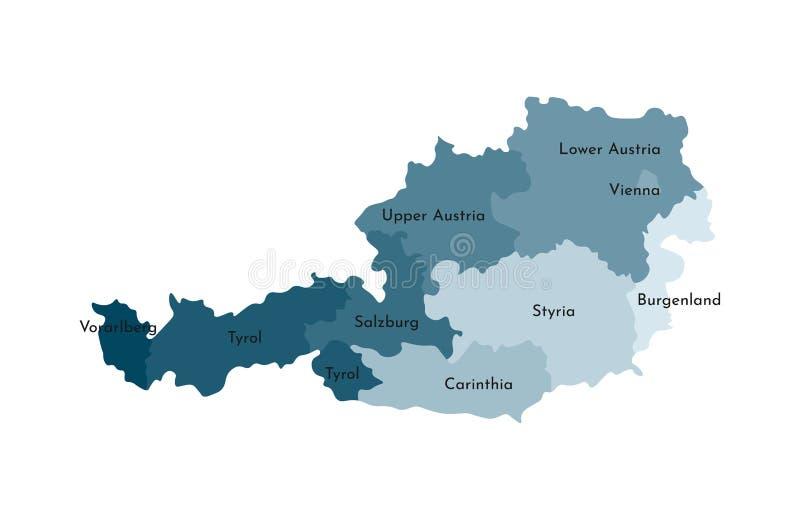 Vektor lokalisierte Illustration der vereinfachten Verwaltungskarte von Österreich Grenzen und Namen der Regionen stock abbildung