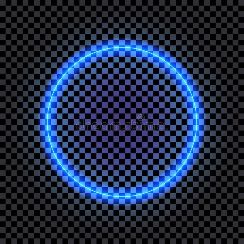 Vektor-lokalisierte Neonkreis-Fahne, leerer glänzender Rahmen, Blaulicht, Grenze, vektor abbildung