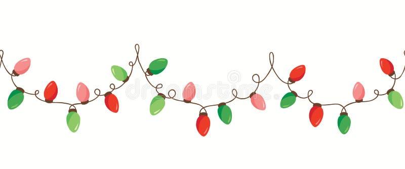 Vektor-lokalisierte rotes grünes Feiertags-Weihnachten, das neues Jahr Ketten-Lichter sich verflocht, horizontalen nahtlosen Gren vektor abbildung