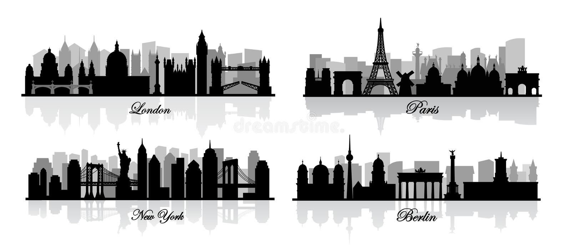 Vektor london, New York, berlin och paris vektor illustrationer