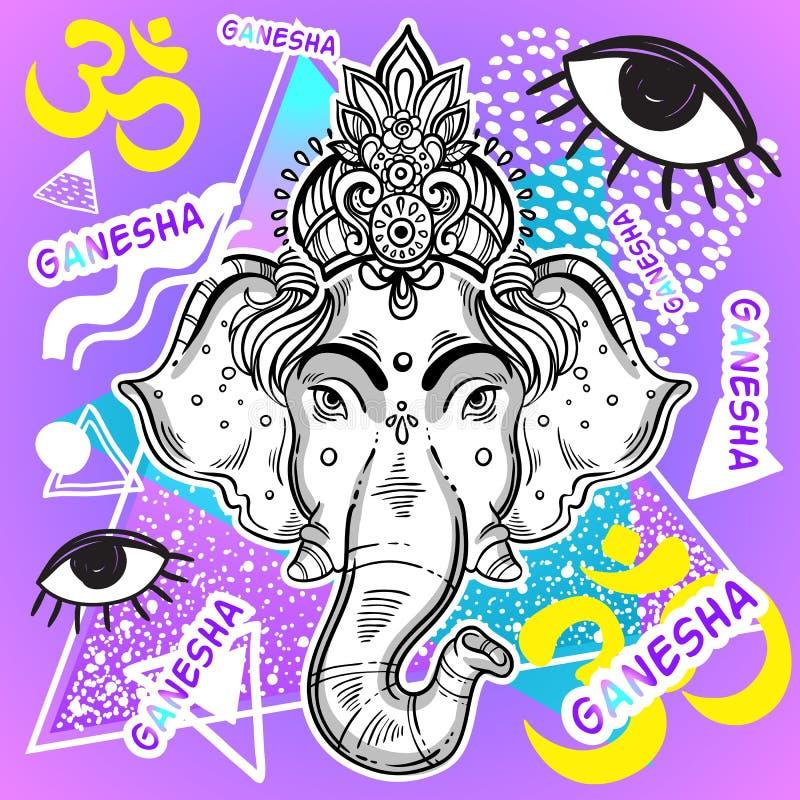 Vektor Lord Ganesha über buntem Weinlesehintergrund Schön ausführliche Retro- Grafik Art 80s und 90s psychedelisch vektor abbildung