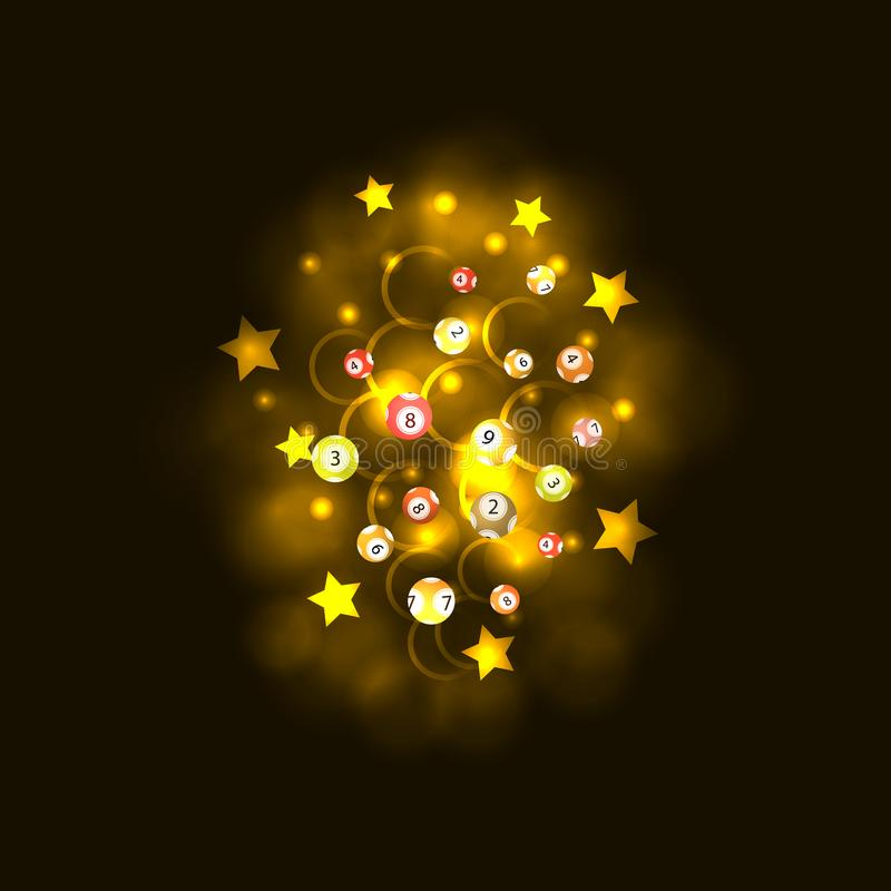 Vektor-Lotterie-Ball-glühende Explosions-Wolke, bunte Illustration, Gewinn-Preis-Konzept, Glücksspiel stock abbildung